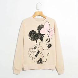 Carie Cartoon Printed Sweater - Soft Pink