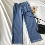 Ismah Denim Straight Pants - Apricot