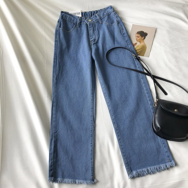 Ismah Denim Straight Pants - Blue