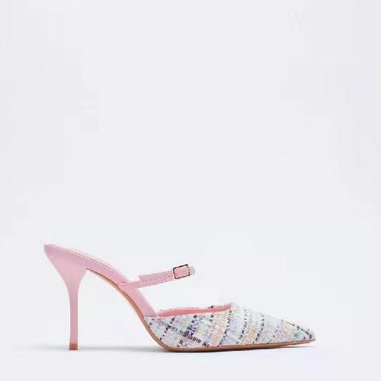 Harper Tweed Soft Pink Lady Sandals