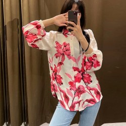 Rubia SatinRed Floral  Printed Blouse