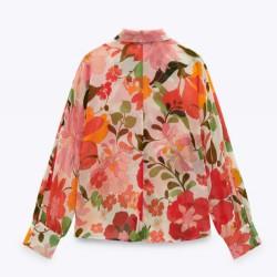 Elise Red Floral Print Loose Blouse