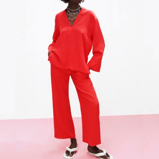 Maisarah Plain Red Long Sleeve Blouse