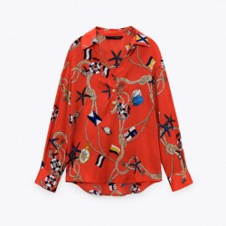 Ammarah Red Chain Printed Blouse
