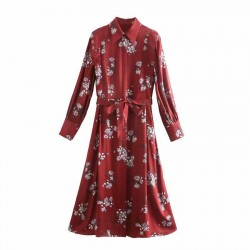 Sarah White Spring Flower Red Flow Dress