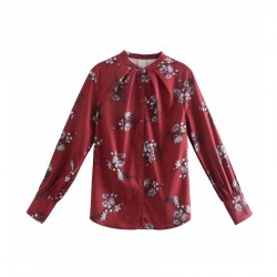 Camelia White Floral Casual Long Sleeve Red Blouse