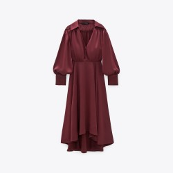 Deeba Lantern Sleeve Dress - Burgundy