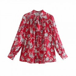 Rossa White Floral Bow-tie Red Blouse