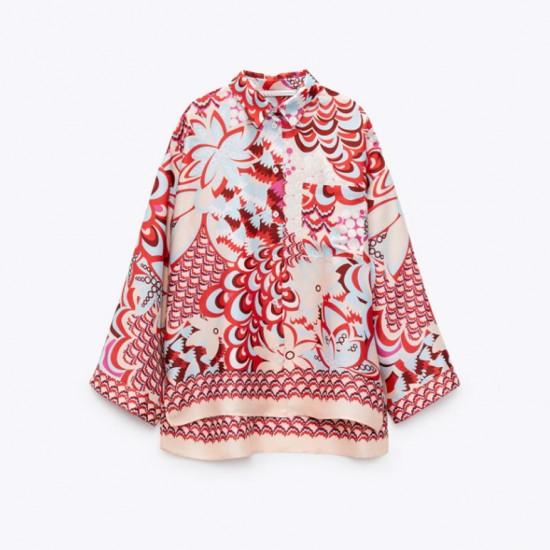 Fleur Summer Red Prints Set Blouse and Pants