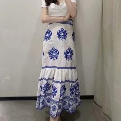 Asha Gypsy Embroidery Long Skirt  - Soft Blue