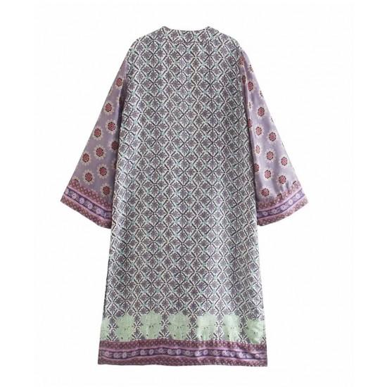 Kayla Geometric Design Printed Kimono Style Mini Dress - Violet