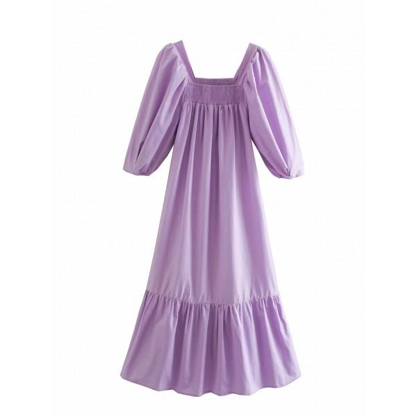 Adira Puff Sleeve Lilac Dress
