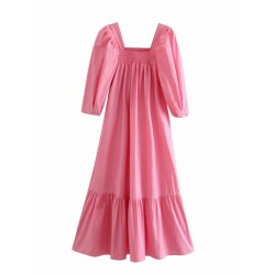 Adira Puff Sleeve Pink Dress