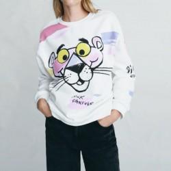 Alara Pink Leo Cartoon Printed Sweater