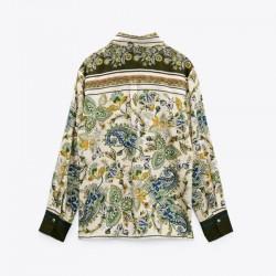Tessa Beige Floral Printed Long Sleeve Blouse