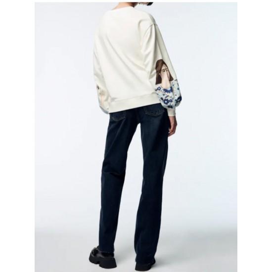 Kadin KIz Printed White Outerwear Sweater