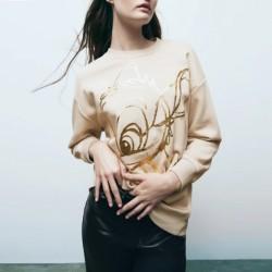 Ceren Golden Doe Cartoon Printed  Sweater
