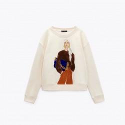 Feriha Stylish Woman Printed White Sweater