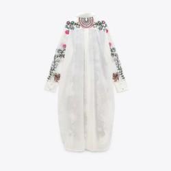 Haidar White Floral Geometric Motif Tunic