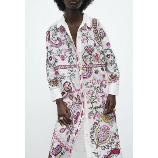 Haidar White Geometric Design Embroidery Dress