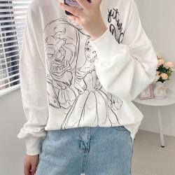 Paige Line Princess Printed Long Sleeve Sweater