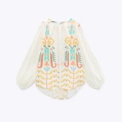 Lexy White Geometric Oversize Blouse