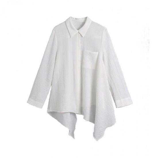 Suri Asymmetric White Stripe Textured Blouse