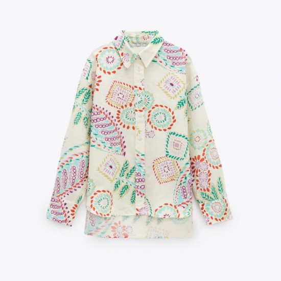 Safiya Geometric Printed Long Sleeve Blouse