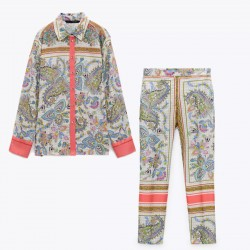 Effah Set Spring Floral Stripe Blouse and Pants