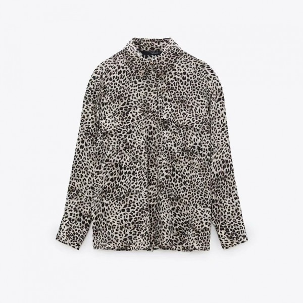 Kyra White Leopard Printed Satin Blouse With Breast Pockets