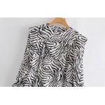 Daiyan Zebra Puff Sleeve Tops