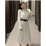 Paula Mini Polka With Waist Belt Long  Dress