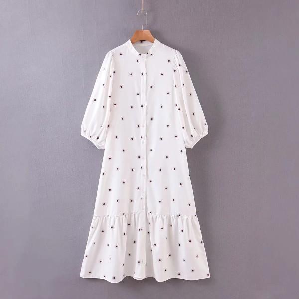 Ellee White Polka Dot Midi Dress