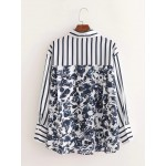 Dhya Retro Floral Stripe Long Sleeve Blouse