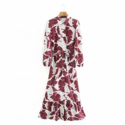Rubee Burgundy Floral Dress With Hip Belt