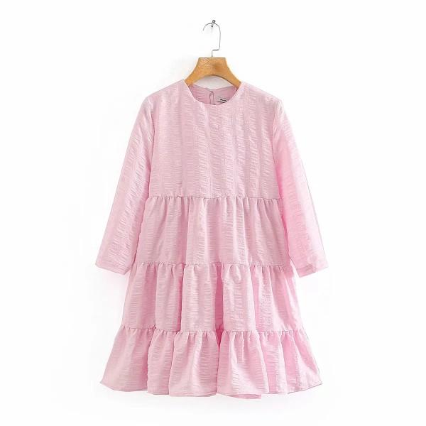 Gypsy Textured Layered Dress - Sakura Pink