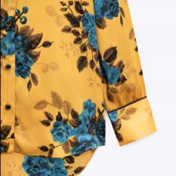 Aylin Blue Floral Bright Yellow Base Blouse