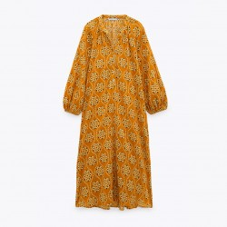 Yunna Yellow Geometric Long Sleeve Dress
