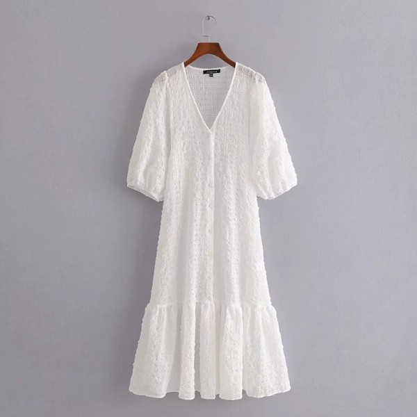 Daisy V-neck Ruffled Dress - Cotton White