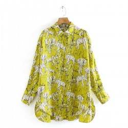 Tazmin Yellow Elephant Design Blouse